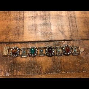 Victorian Revival Gemstone Link Bracelet Stamped